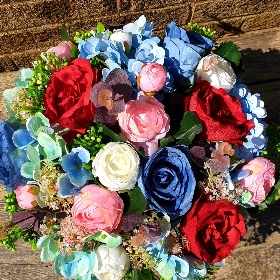 Artificial blue red flower box